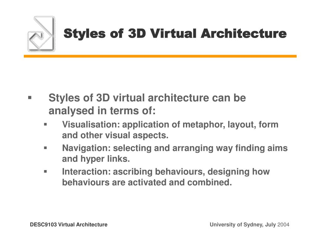 Styles of 3D Virtual Architecture