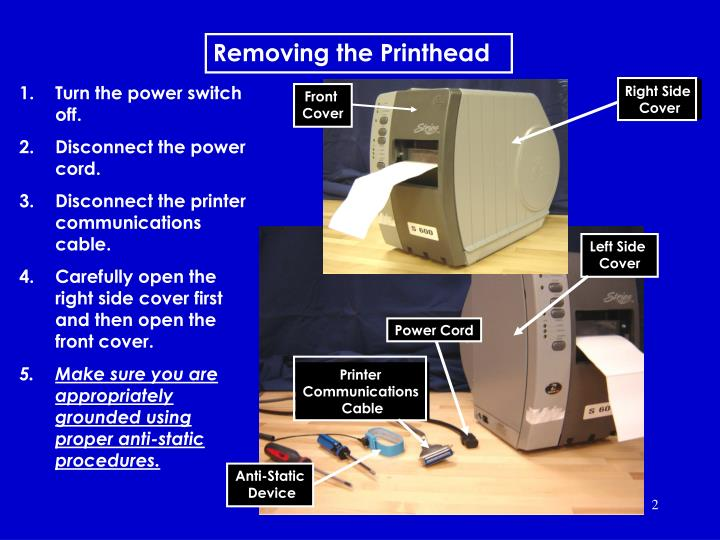 Removing the printhead