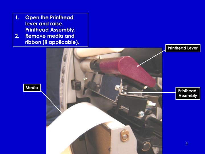 Open the Printhead lever and raise. Printhead Assembly.