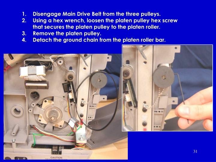 Disengage Main Drive Belt from the three pulleys.