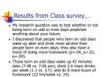 results from class survey