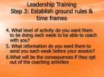 leadership training step 3 establish ground rules time frames14