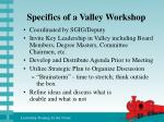 specifics of a valley workshop