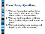 focus groups questions