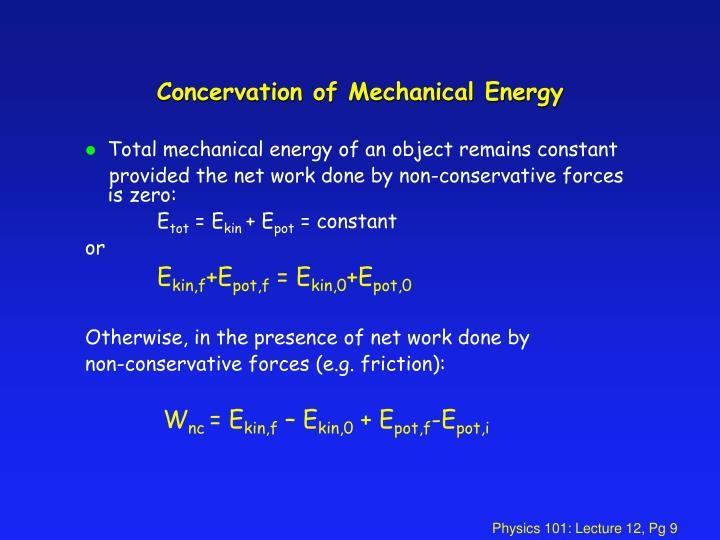 Concervation of Mechanical Energy
