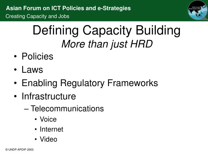 Defining capacity building more than just hrd