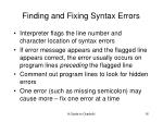 finding and fixing syntax errors