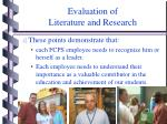 evaluation of literature and research