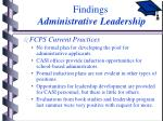 findings administrative leadership