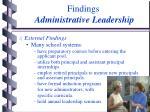 findings administrative leadership11
