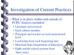 investigation of current practices