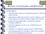 review of literature and research
