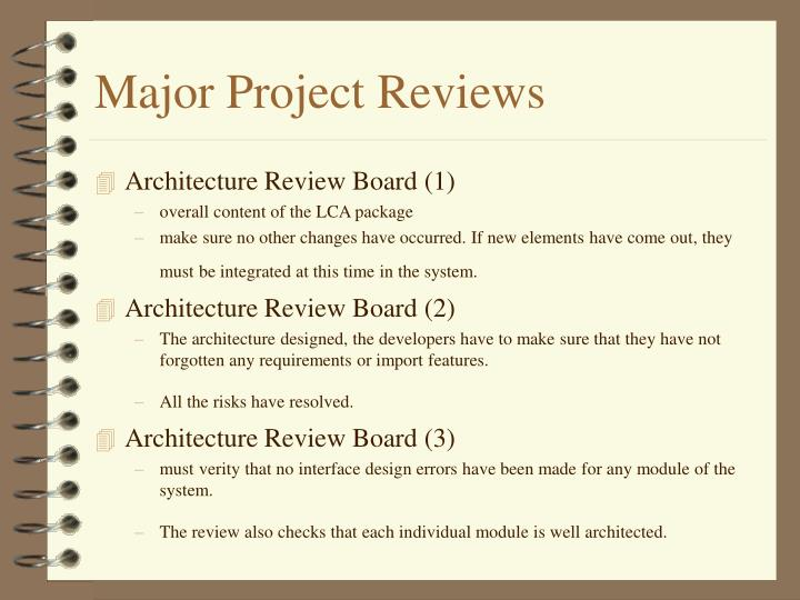 Major Project Reviews