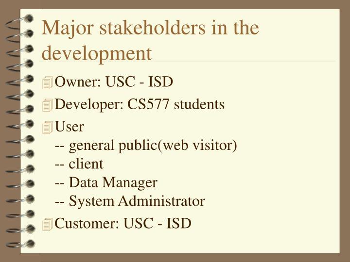 Major stakeholders in the development