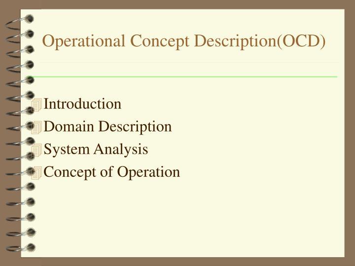 Operational Concept Description(OCD)