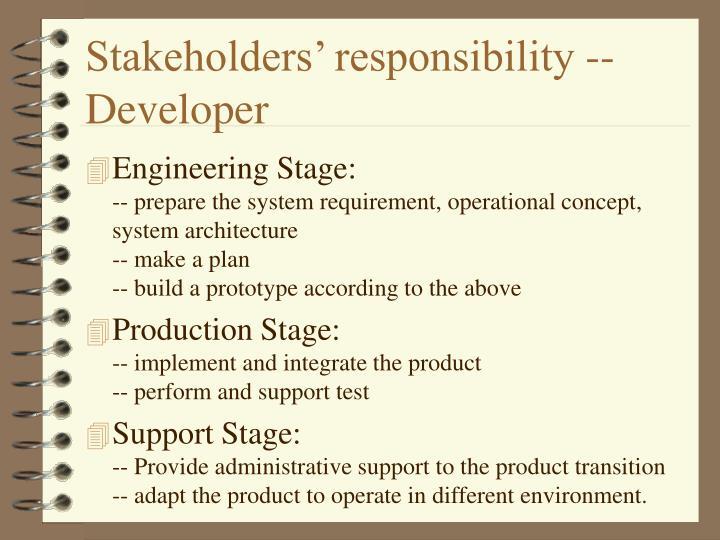 Stakeholders' responsibility -- Developer