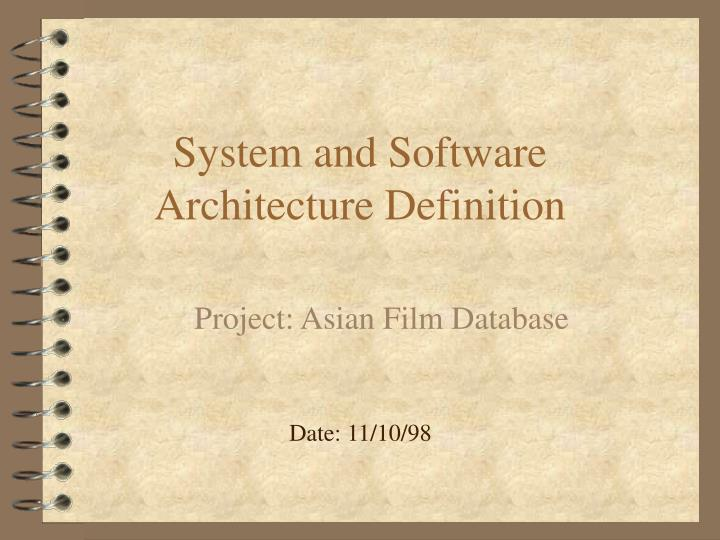 System and Software Architecture Definition