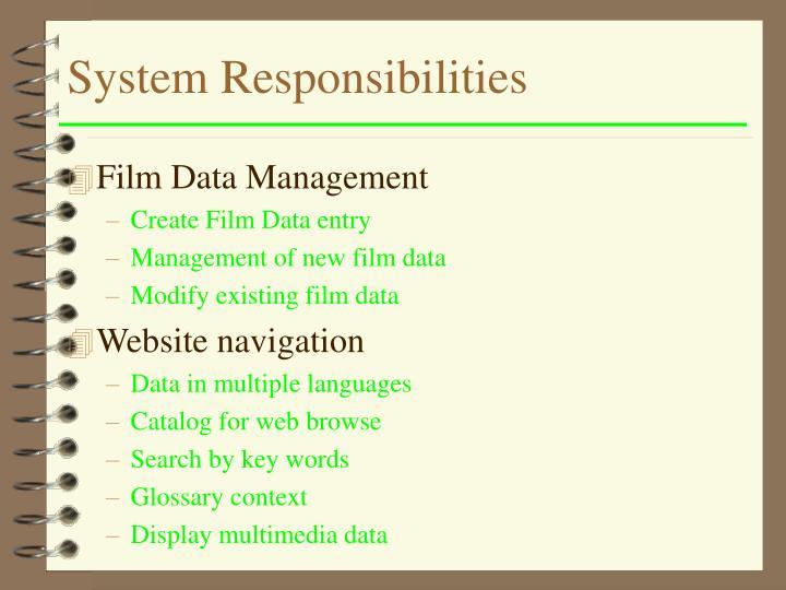 System Responsibilities
