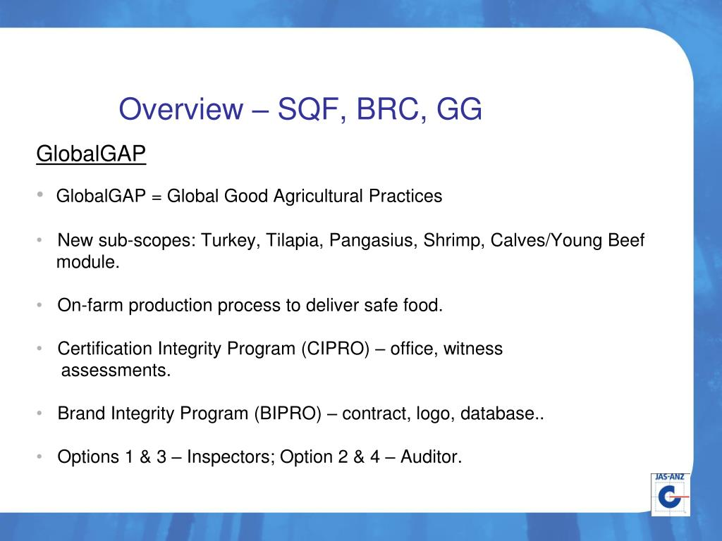 PPT - PAC Plenary SQF, BRC, GlobalGAP Food Product Schemes