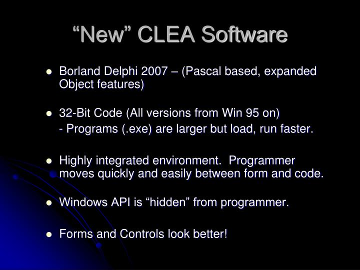 """""""New"""" CLEA Software"""