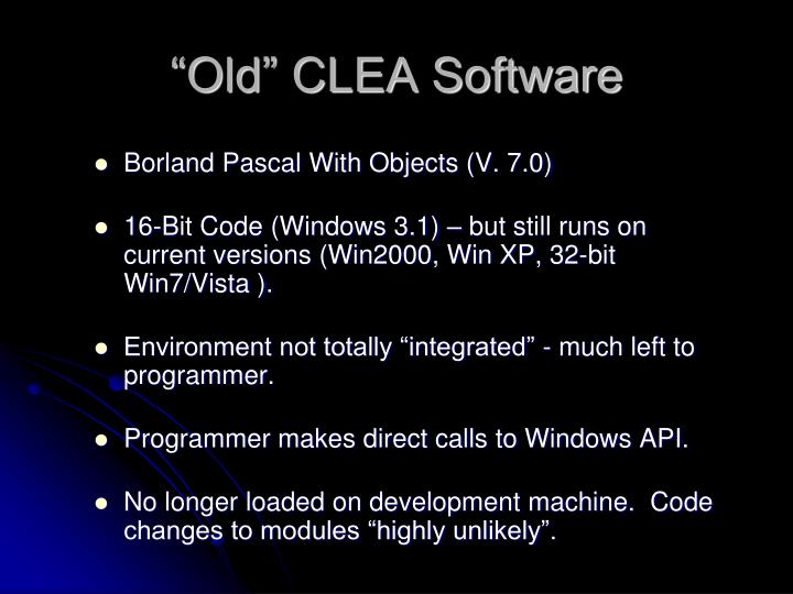"""""""Old"""" CLEA Software"""