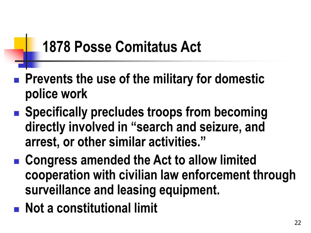 PPT - Plagues, Police, and Posse Comitatus: Legal Issues in ...