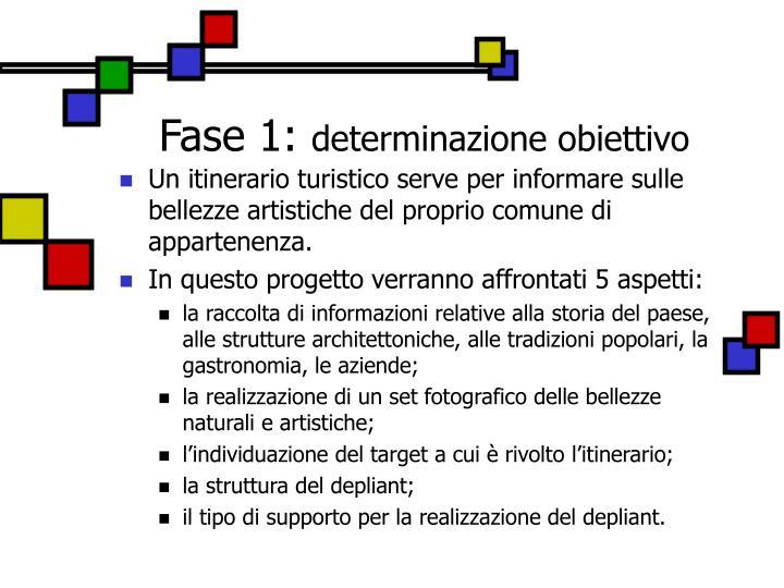 Fase 1 determinazione obiettivo