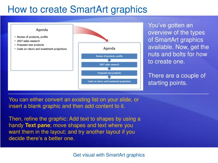 How to create SmartArt graphics