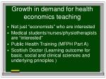 growth in demand for health economics teaching
