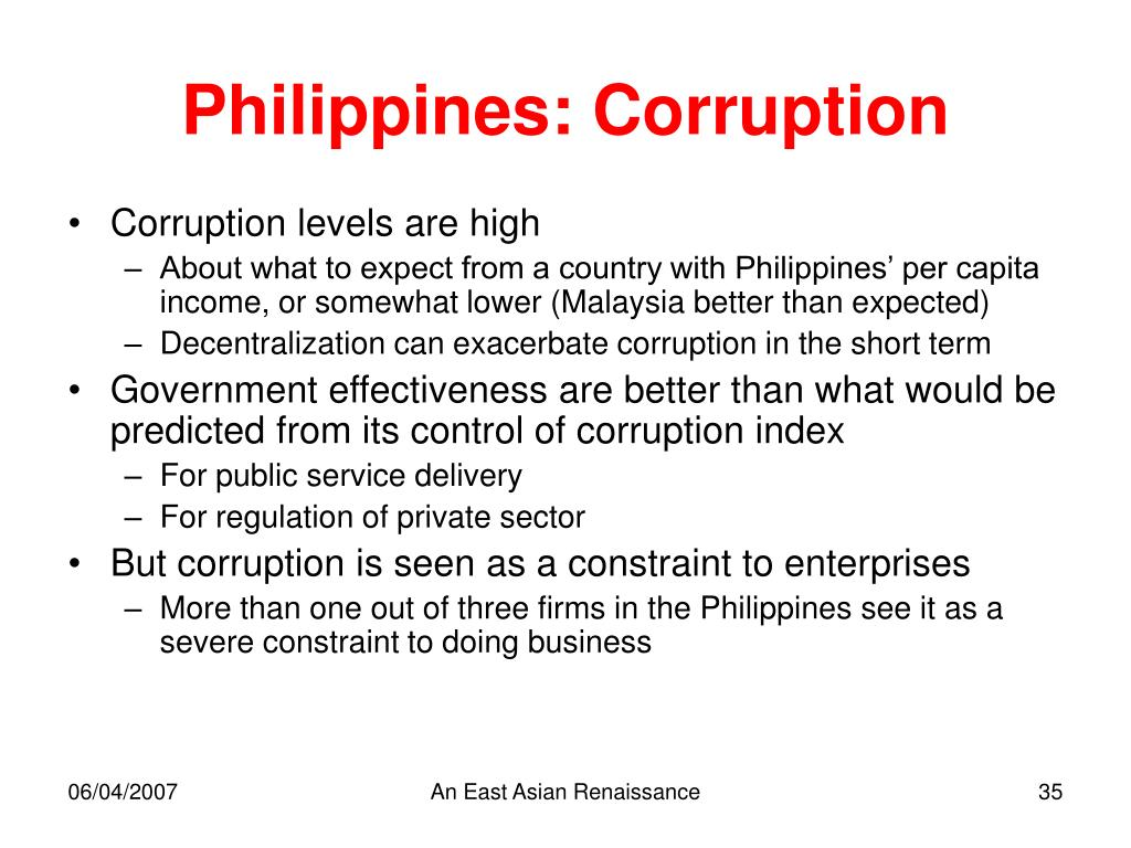 Philippines: Corruption