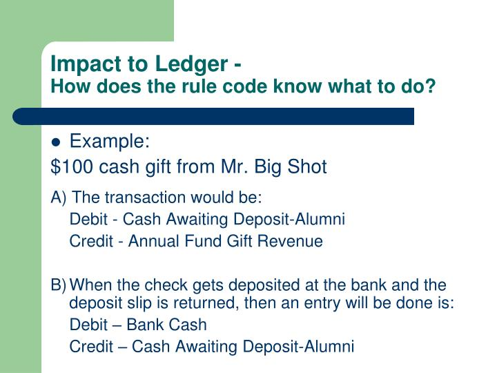Impact to Ledger -