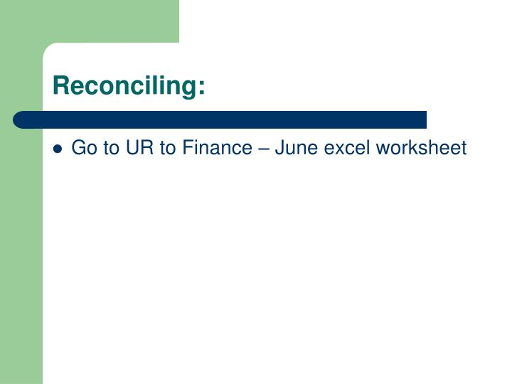 Reconciling: