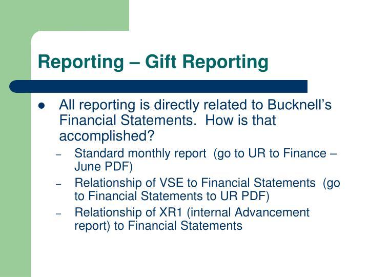Reporting – Gift Reporting