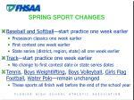 spring sport changes