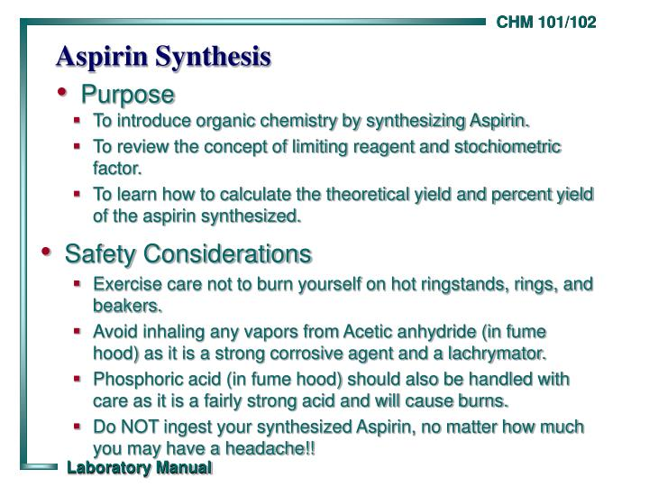 aspirin synthesis Experiment 5: synthesis of aspirin • report data collected and  subsequent calculations to wwwchem21labscom • all equipment should be  returned to.