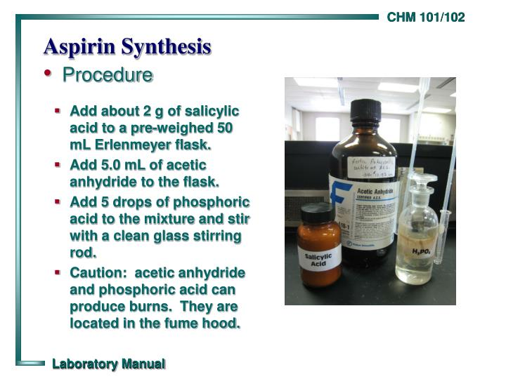 aspirin synthesis and analysis lab Abstract: the synthesis of aspirin is a part of many undergraduate organic synthesis labs and is frequently used in qualitative organic analysis laboratory for the identification of salicylic acid we have found that aspirin can be synthesized on microscale by a.