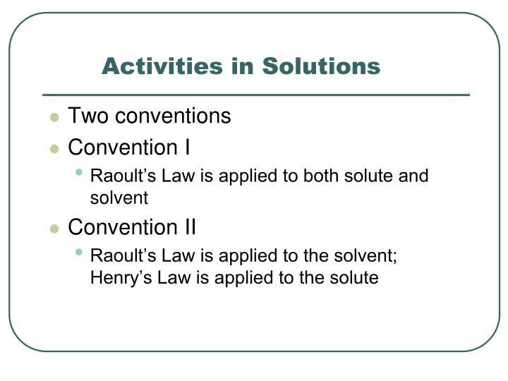 Activities in Solutions