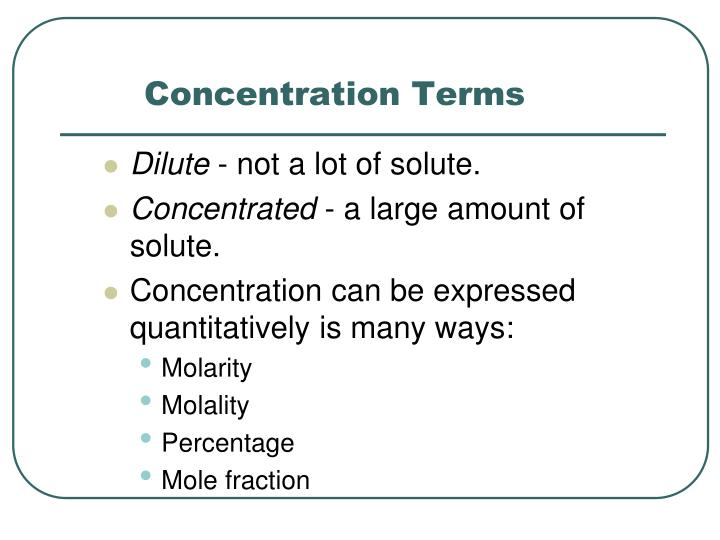Concentration terms