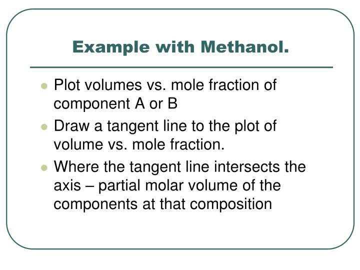 Example with Methanol.