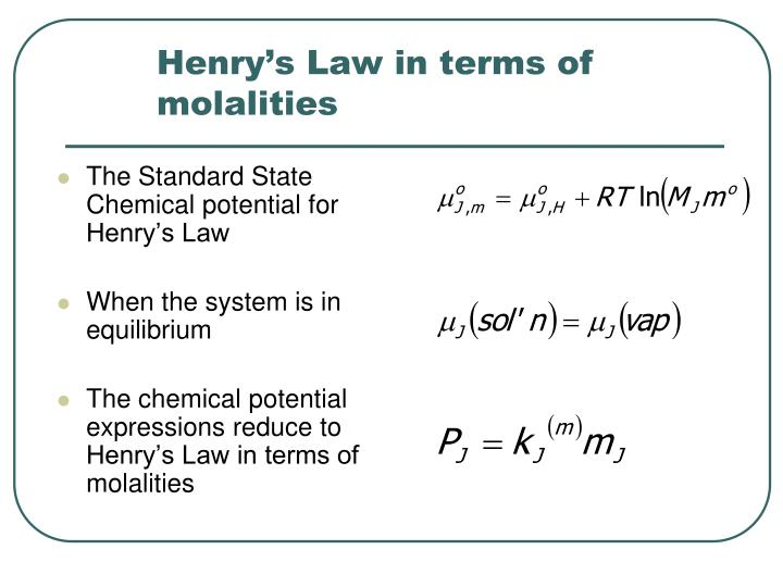 Henry's Law in terms of molalities