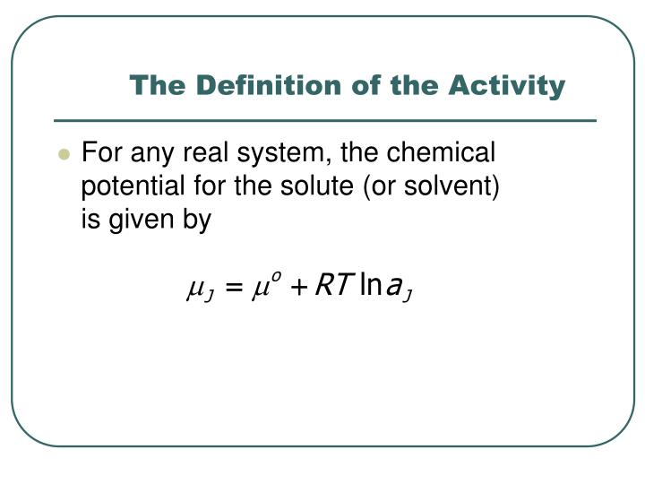 The Definition of the Activity