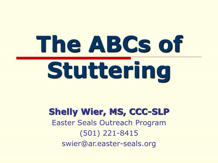 the abcs of stuttering n.