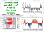 interdecadal variability of atlantic hurricane numbers goldenberg shapiro 2001