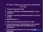 10 tips to keep your business financially on track