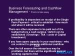 business forecasting and cashflow management points to take away