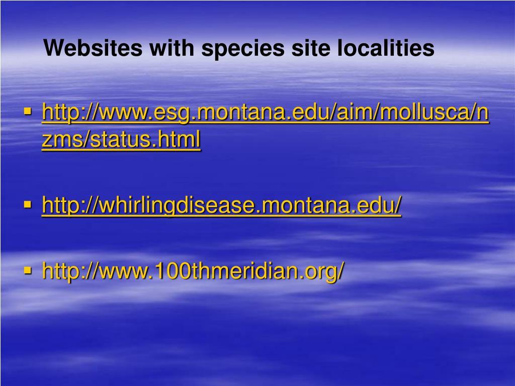 Websites with species site localities