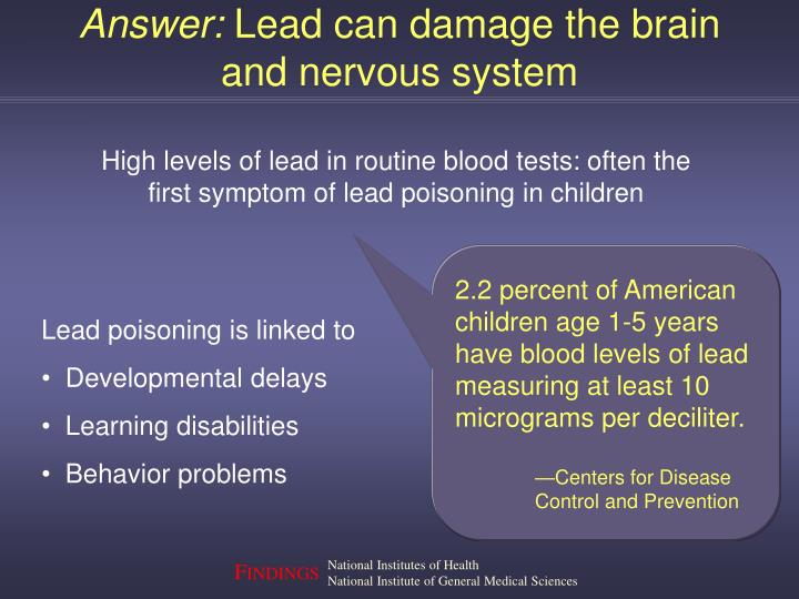 Answer lead can damage the brain and nervous system