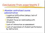 conclusions from experiments i