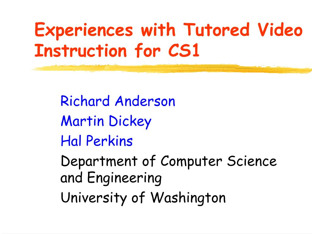 experiences with tutored video instruction for cs1 l.