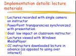 implementation details lecture materials